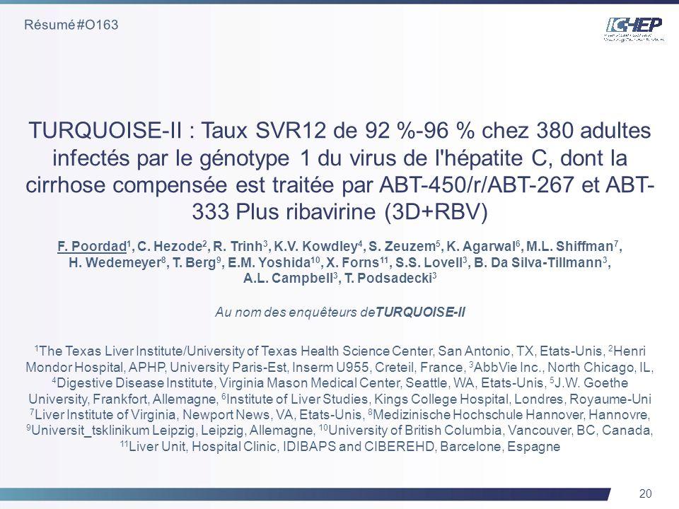20 TURQUOISE-II : Taux SVR12 de 92 %-96 % chez 380 adultes infectés par le génotype 1 du virus de l hépatite C, dont la cirrhose compensée est traitée par ABT-450/r/ABT-267 et ABT- 333 Plus ribavirine (3D+RBV) F.