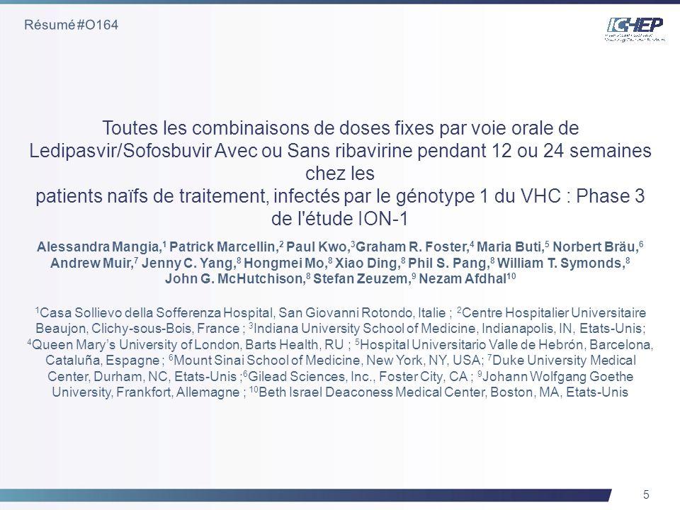 6 Patients naïfs de traitement au GT 1 VHC en Europe et aux Etats-Unis Critères d inclusion très généraux –Inscription ciblée de 20 % pour les patients atteints de cirrhose –Pas de limite d âge ou d IMC –Numération plaquettaire ≥50,000/mm 3, pas de taux minimum pour les neutrophiles 865 patients randomisés 1:1:1:1 sur quatre groupes Stratifié par sous-type de VHC (1a ou 1b) et de cirrhose Sem 0 Sem 12Sem 36Sem 24 LDV/SOF SVR12 LDV/SOF + RBV LDV/SOF LDV/SOF + RBV SVR12 Mangia, A.