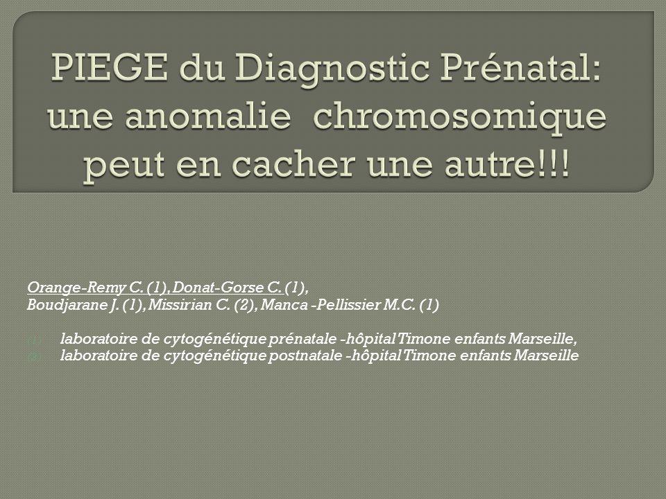 Orange-Remy C. (1), Donat-Gorse C. (1), Boudjarane J. (1), Missirian C. (2), Manca -Pellissier M.C. (1) (1) laboratoire de cytogénétique prénatale -hô