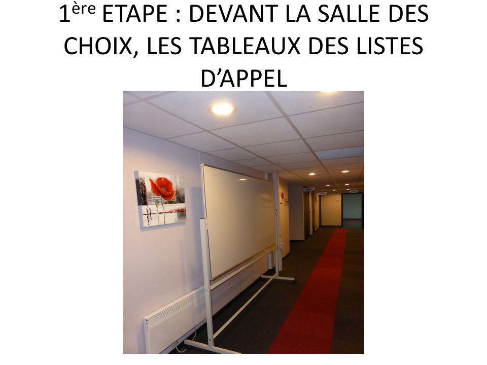 1 ère ETAPE : DEVANT LA SALLE DES CHOIX, LES TABLEAUX DES LISTES D'APPEL