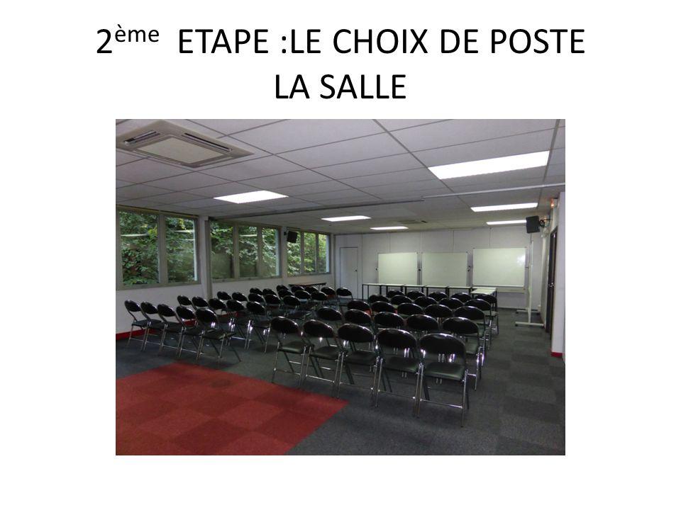 2 ème ETAPE :LE CHOIX DE POSTE LA SALLE