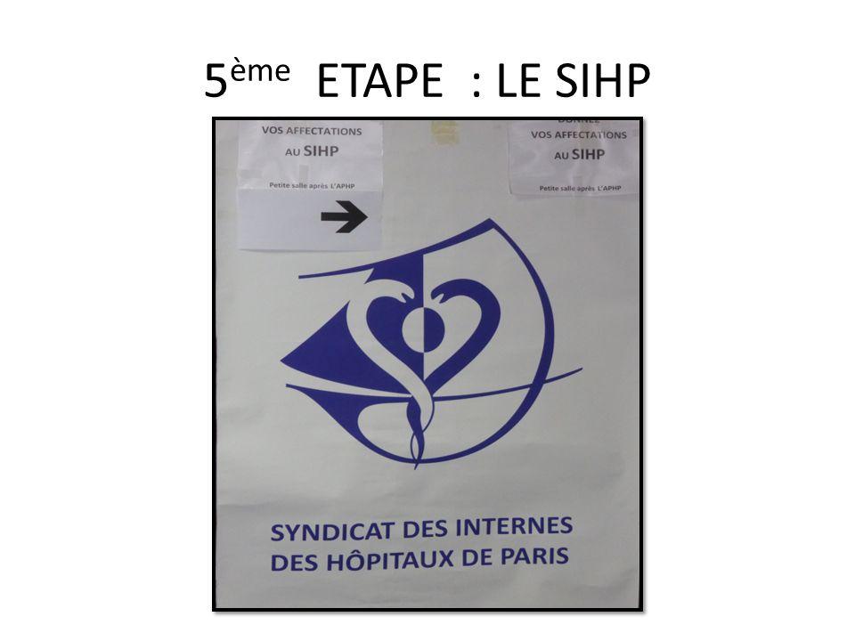 5 ème ETAPE : LE SIHP
