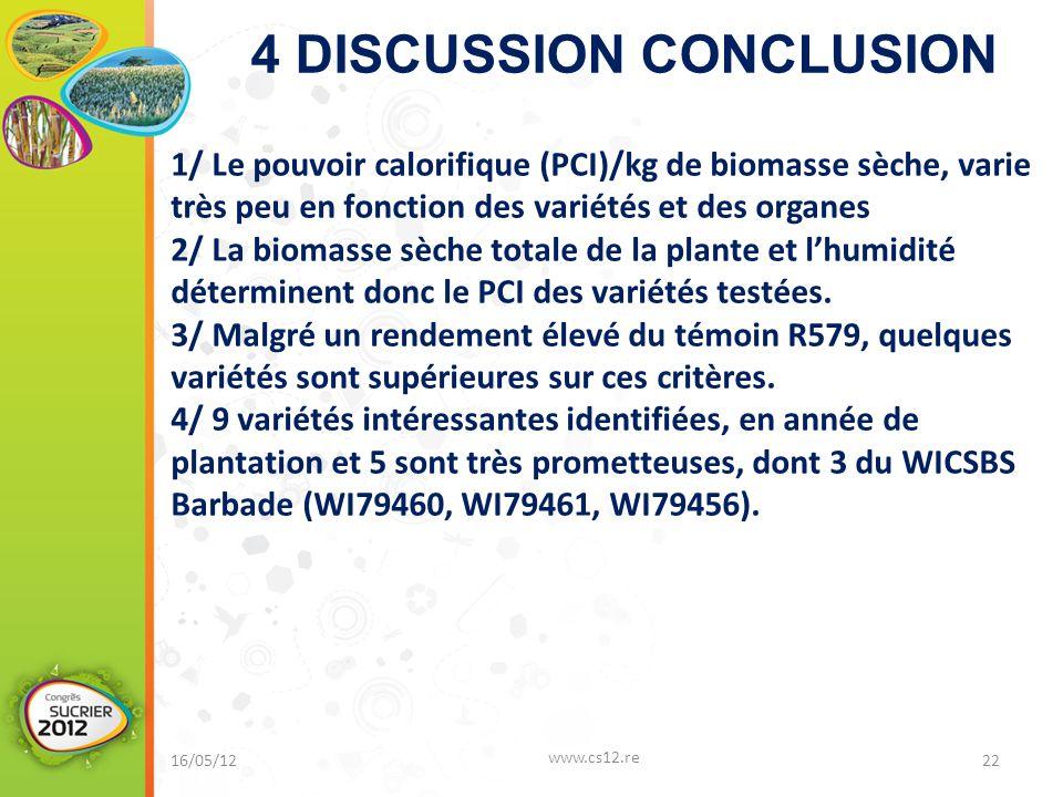 4 DISCUSSION CONCLUSION 16/05/12 www.cs12.re 22 1/ Le pouvoir calorifique (PCI)/kg de biomasse sèche, varie très peu en fonction des variétés et des organes 2/ La biomasse sèche totale de la plante et l'humidité déterminent donc le PCI des variétés testées.