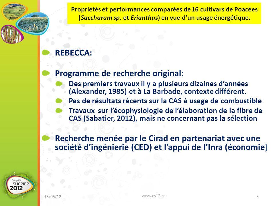 REBECCA: Programme de recherche original: Des premiers travaux il y a plusieurs dizaines d'années (Alexander, 1985) et à La Barbade, contexte différent.