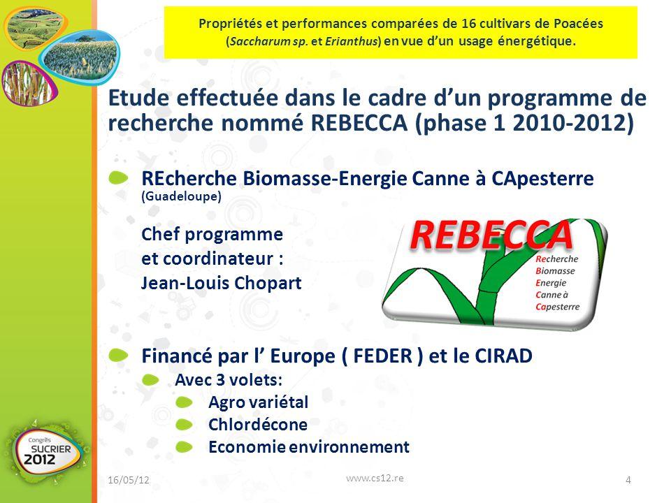 Etude effectuée dans le cadre d'un programme de recherche nommé REBECCA (phase 1 2010-2012) REcherche Biomasse-Energie Canne à CApesterre (Guadeloupe) Chef programme et coordinateur : Jean-Louis Chopart Financé par l' Europe ( FEDER ) et le CIRAD Avec 3 volets: Agro variétal Chlordécone Economie environnement 16/05/12 www.cs12.re 4.