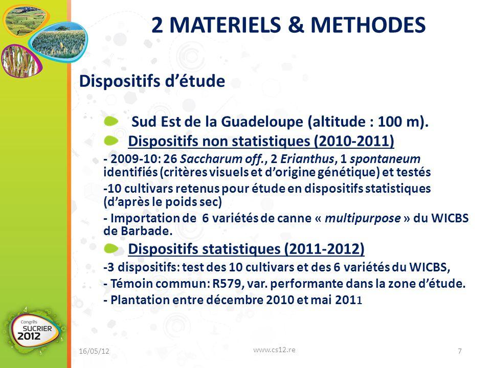 2 MATERIELS & METHODES Dispositifs d'étude Sud Est de la Guadeloupe (altitude : 100 m).