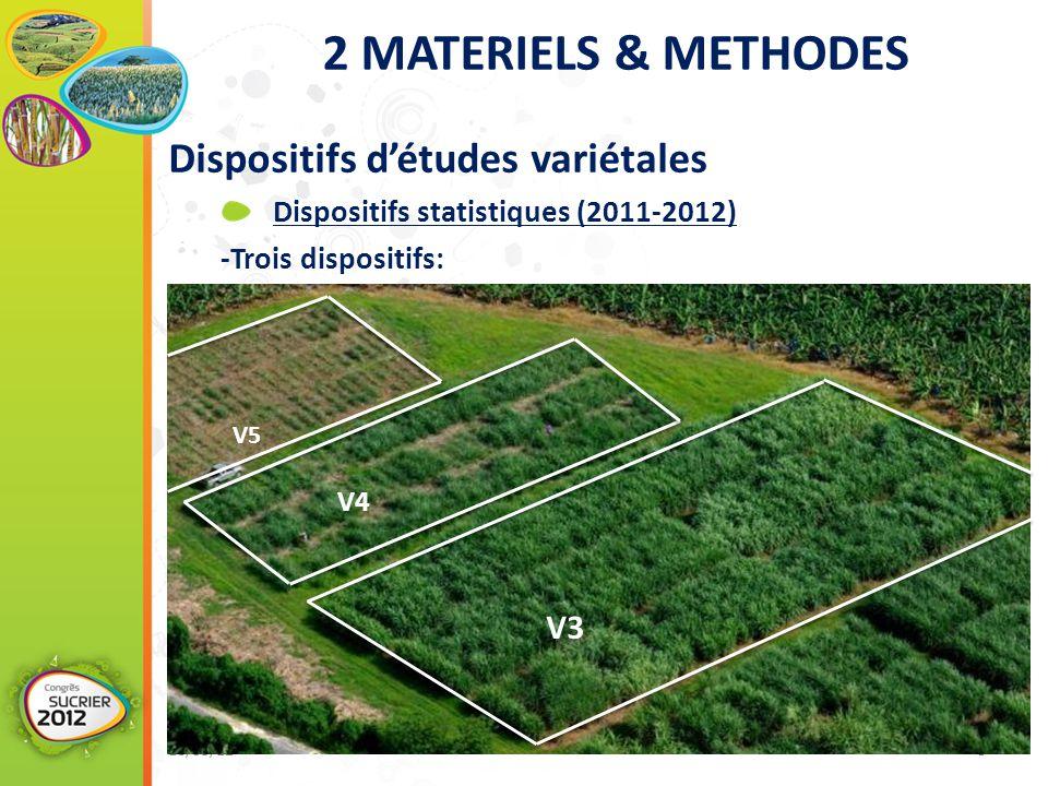 Dispositifs d'études variétales Dispositifs statistiques (2011-2012) -Trois dispositifs: 16/05/12 www.cs12.re 8 V3 V4 V5 2 MATERIELS & METHODES