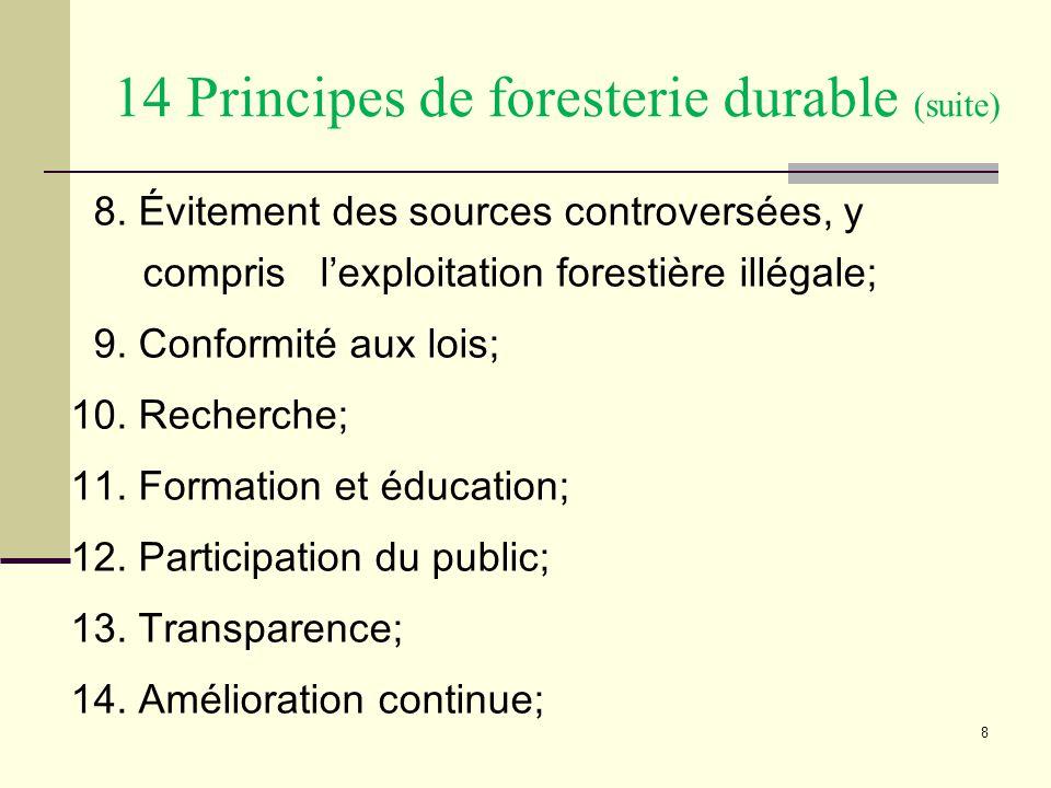 8 8. Évitement des sources controversées, y compris l'exploitation forestière illégale; 9.
