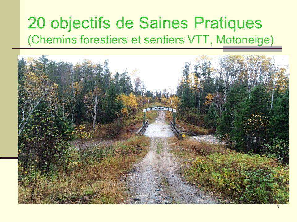 9 20 objectifs de Saines Pratiques (Chemins forestiers et sentiers VTT, Motoneige)