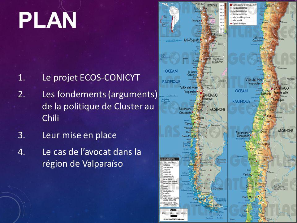 PLAN 1.Le projet ECOS-CONICYT 2.Les fondements (arguments) de la politique de Cluster au Chili 3.Leur mise en place 4.Le cas de l'avocat dans la région de Valparaíso