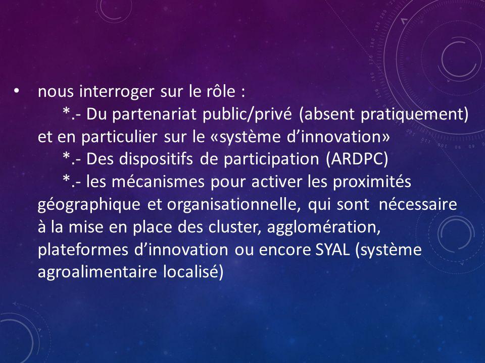 nous interroger sur le rôle : *.- Du partenariat public/privé (absent pratiquement) et en particulier sur le «système d'innovation» *.- Des dispositifs de participation (ARDPC) *.- les mécanismes pour activer les proximités géographique et organisationnelle, qui sont nécessaire à la mise en place des cluster, agglomération, plateformes d'innovation ou encore SYAL (système agroalimentaire localisé)