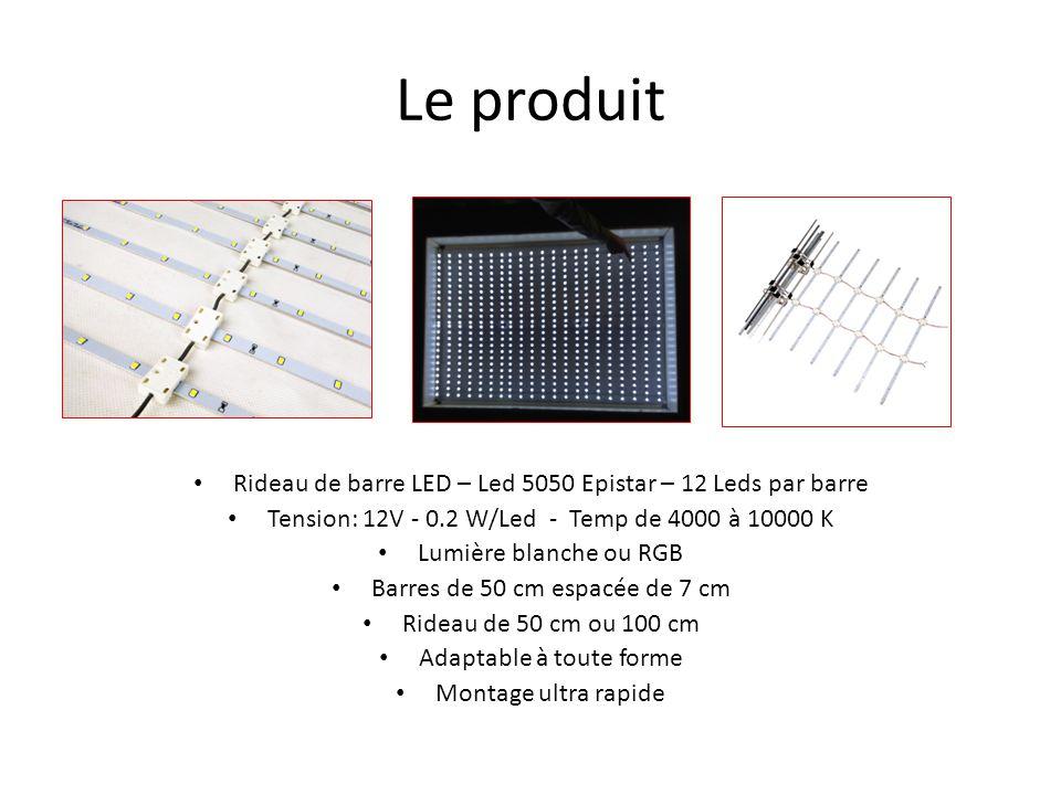 Le produit Rideau de barre LED – Led 5050 Epistar – 12 Leds par barre Tension: 12V - 0.2 W/Led - Temp de 4000 à 10000 K Lumière blanche ou RGB Barres