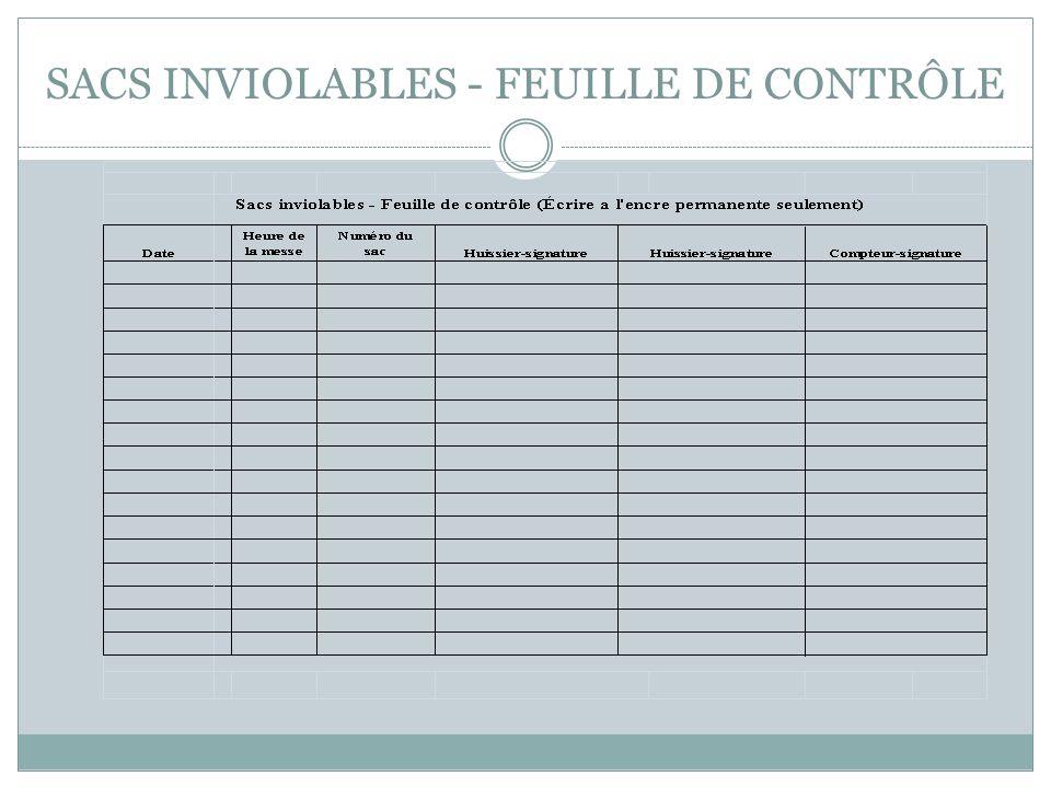 SACS INVIOLABLES - FEUILLE DE CONTRÔLE
