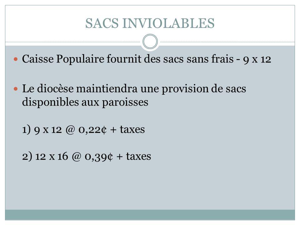 SACS INVIOLABLES Caisse Populaire fournit des sacs sans frais - 9 x 12 Le diocèse maintiendra une provision de sacs disponibles aux paroisses 1) 9 x 12 @ 0,22¢ + taxes 2) 12 x 16 @ 0,39¢ + taxes