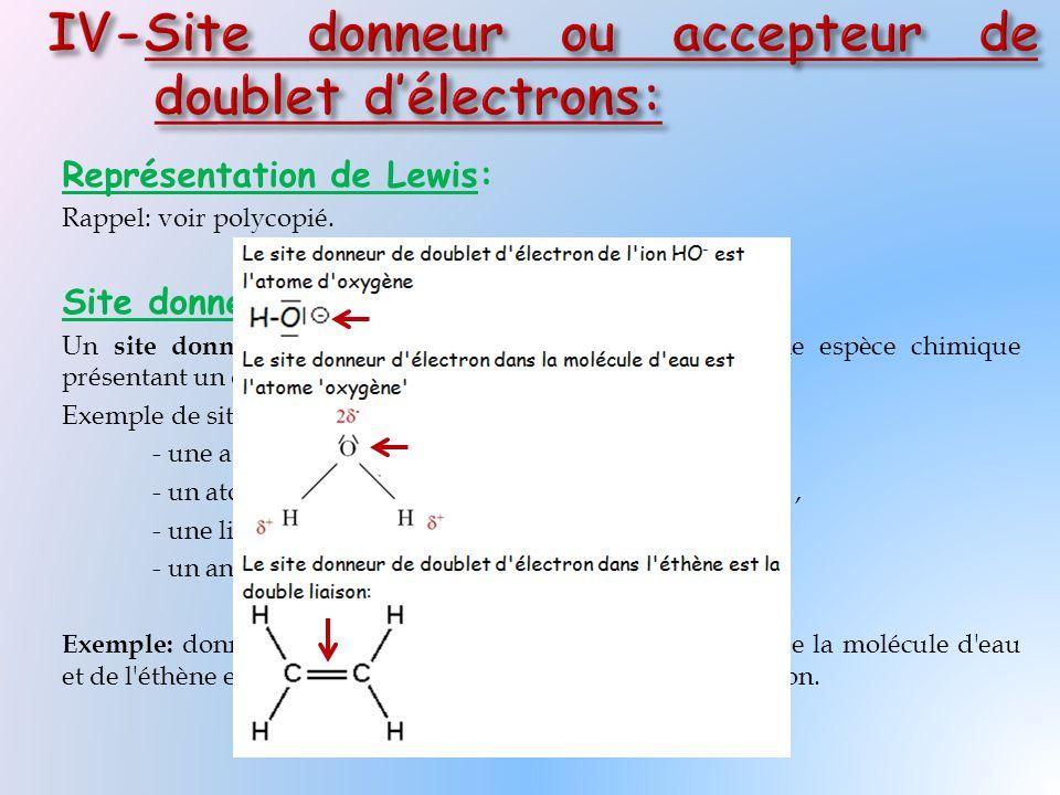 Représentation de Lewis: Rappel: voir polycopié. Site donneur de doublet d'électrons: Un site donneur de doublet d'électrons est un lieu d'une espèce