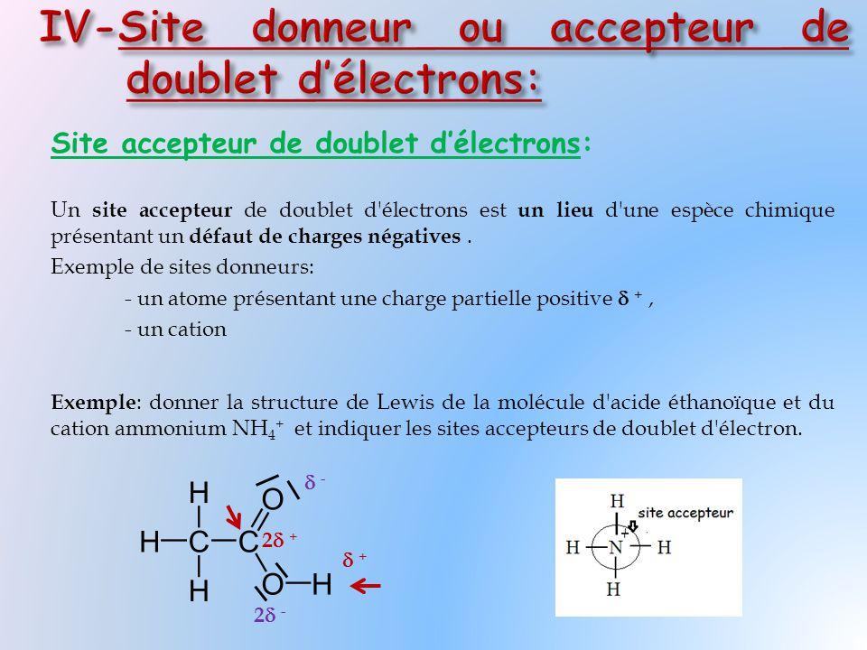 Site accepteur de doublet d'électrons: Un site accepteur de doublet d électrons est un lieu d une espèce chimique présentant un défaut de charges négatives.