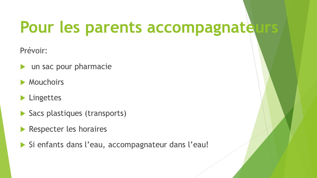 Pour les parents accompagnateurs Prévoir:  un sac pour pharmacie  Mouchoirs  Lingettes  Sacs plastiques (transports)  Respecter les horaires  Si enfants dans l'eau, accompagnateur dans l'eau!