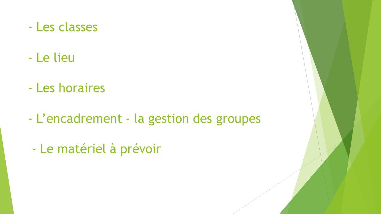 - Les classes - Le lieu - Les horaires - L'encadrement - la gestion des groupes - Le matériel à prévoir