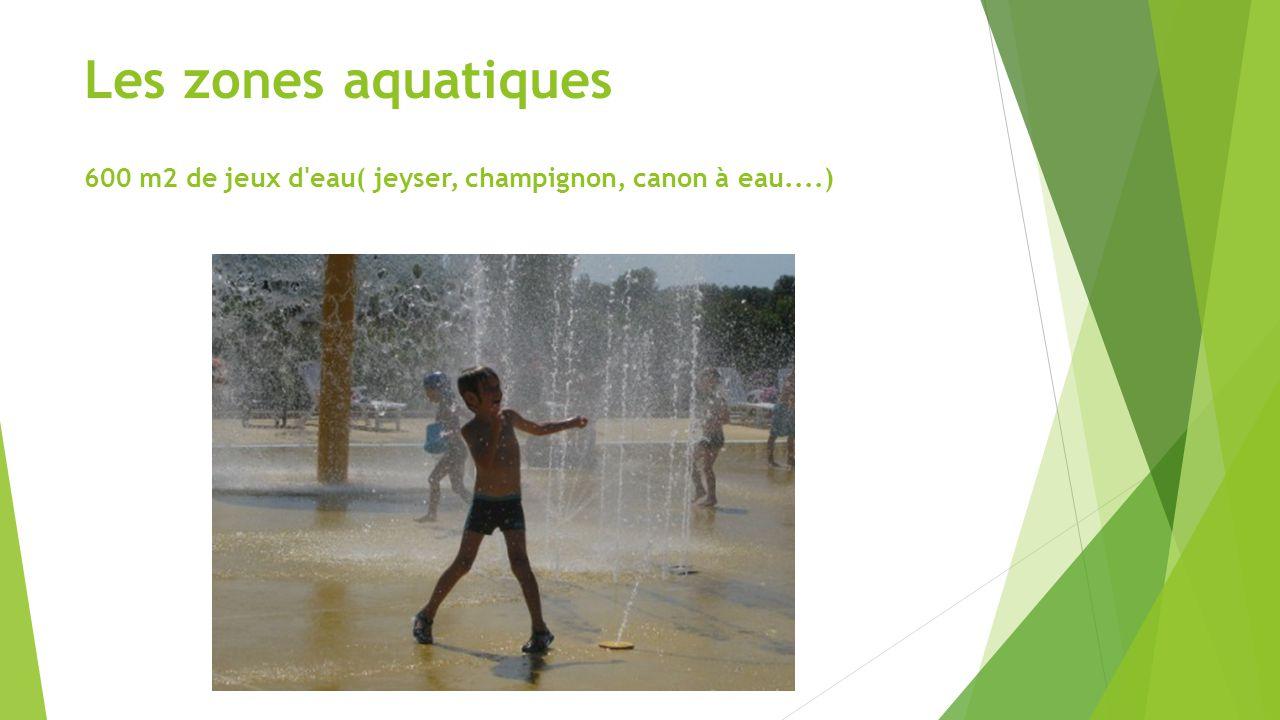 Les zones aquatiques 600 m2 de jeux d'eau( jeyser, champignon, canon à eau....)