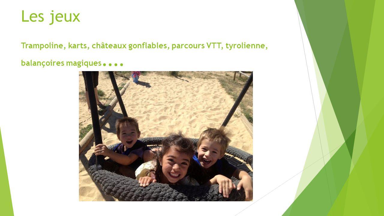 Les jeux Trampoline, karts, châteaux gonflables, parcours VTT, tyrolienne, balançoires magiques....