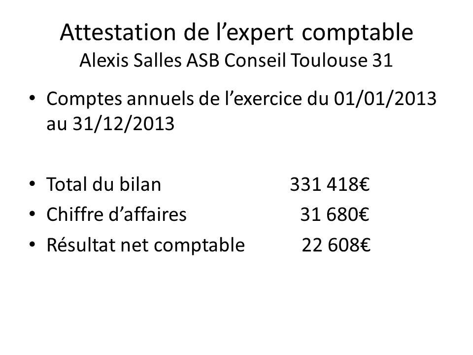 Attestation de l'expert comptable Alexis Salles ASB Conseil Toulouse 31 Comptes annuels de l'exercice du 01/01/2013 au 31/12/2013 Total du bilan 331 4