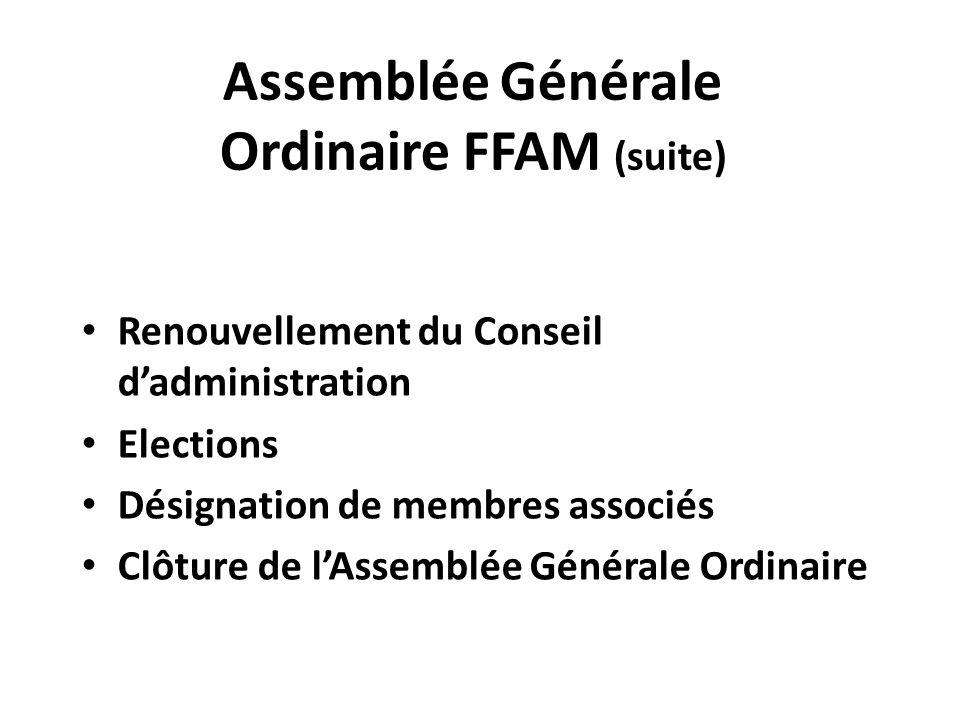 Assemblée Générale Ordinaire FFAM (suite) Renouvellement du Conseil d'administration Elections Désignation de membres associés Clôture de l'Assemblée