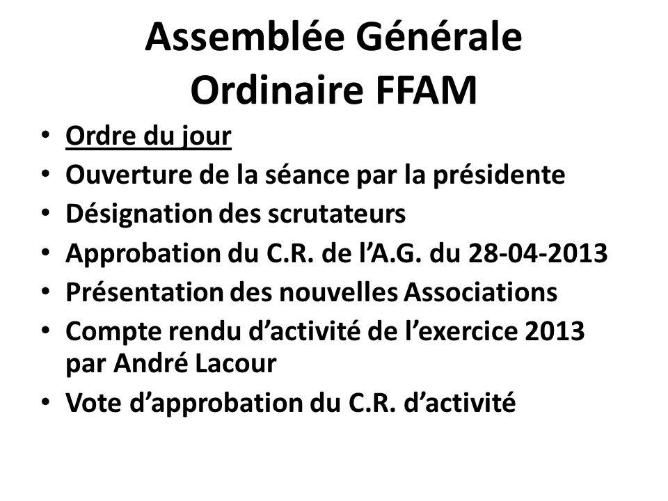 Assemblée Générale Ordinaire FFAM Ordre du jour Ouverture de la séance par la présidente Désignation des scrutateurs Approbation du C.R. de l'A.G. du