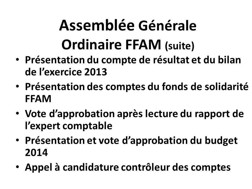 Assemblée Générale Ordinaire FFAM (suite) Présentation du compte de résultat et du bilan de l'exercice 2013 Présentation des comptes du fonds de solid