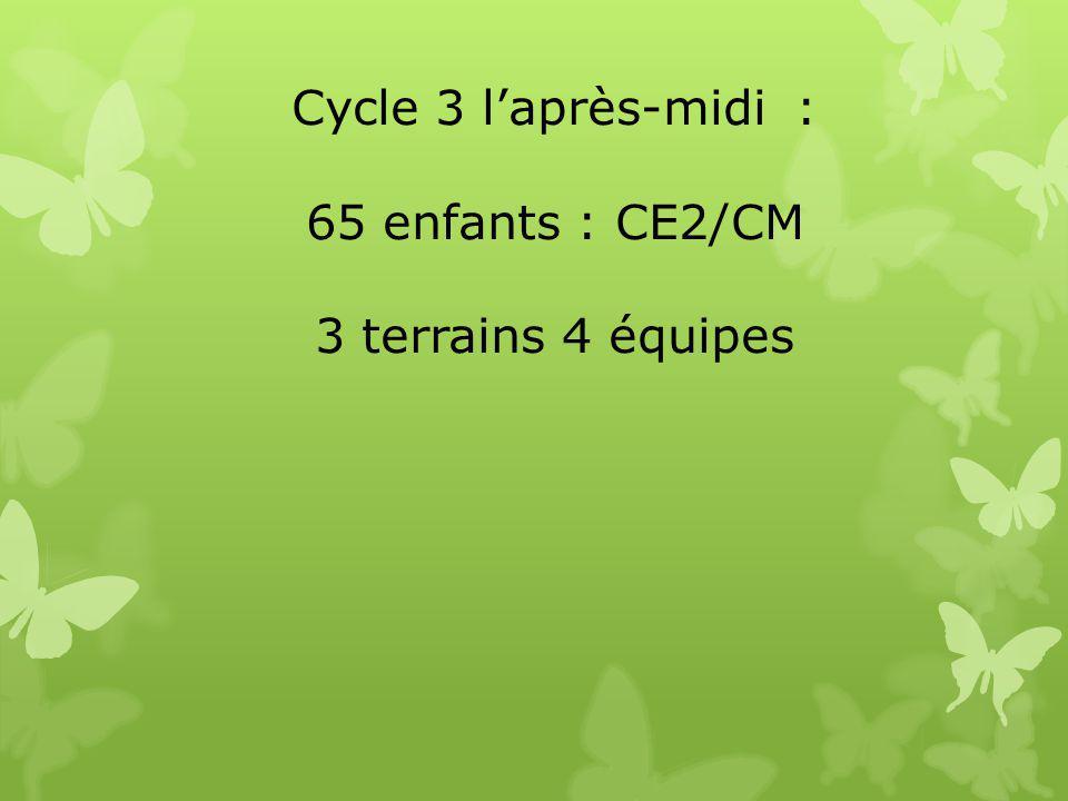 Cycle 3 l'après-midi : 65 enfants : CE2/CM 3 terrains 4 équipes