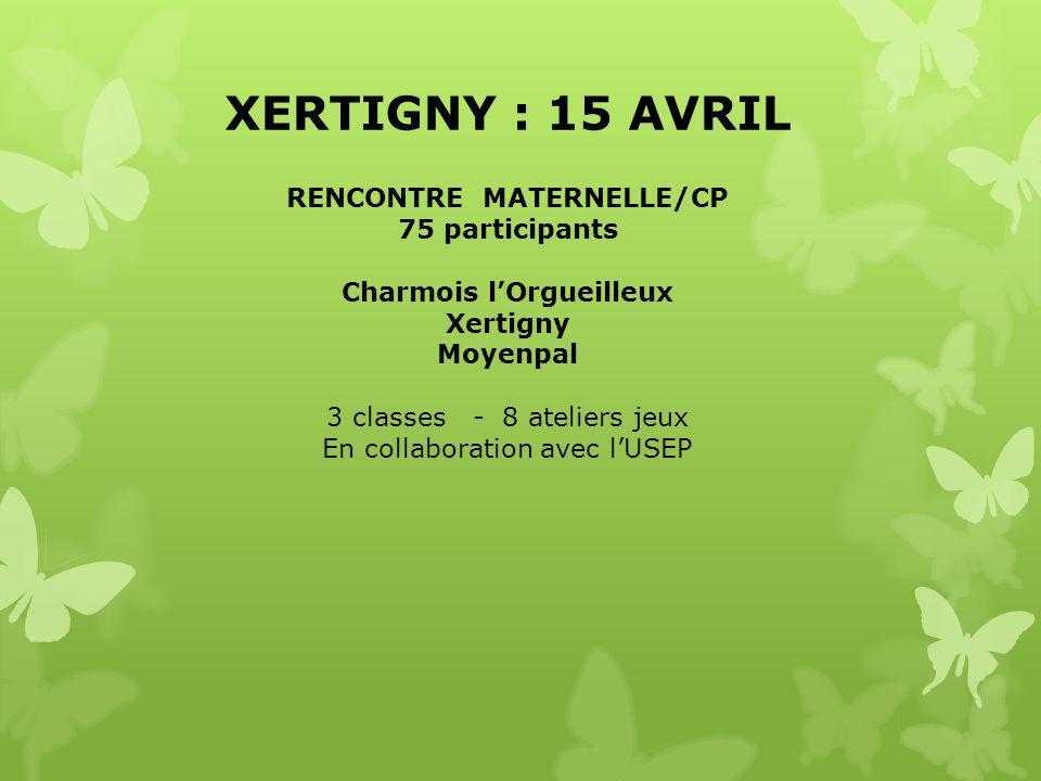 XERTIGNY : 15 AVRIL RENCONTRE MATERNELLE/CP 75 participants Charmois l'Orgueilleux Xertigny Moyenpal 3 classes - 8 ateliers jeux En collaboration avec l'USEP