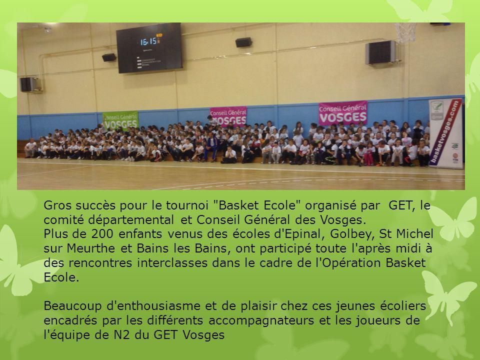 Gros succès pour le tournoi Basket Ecole organisé par GET, le comité départemental et Conseil Général des Vosges.
