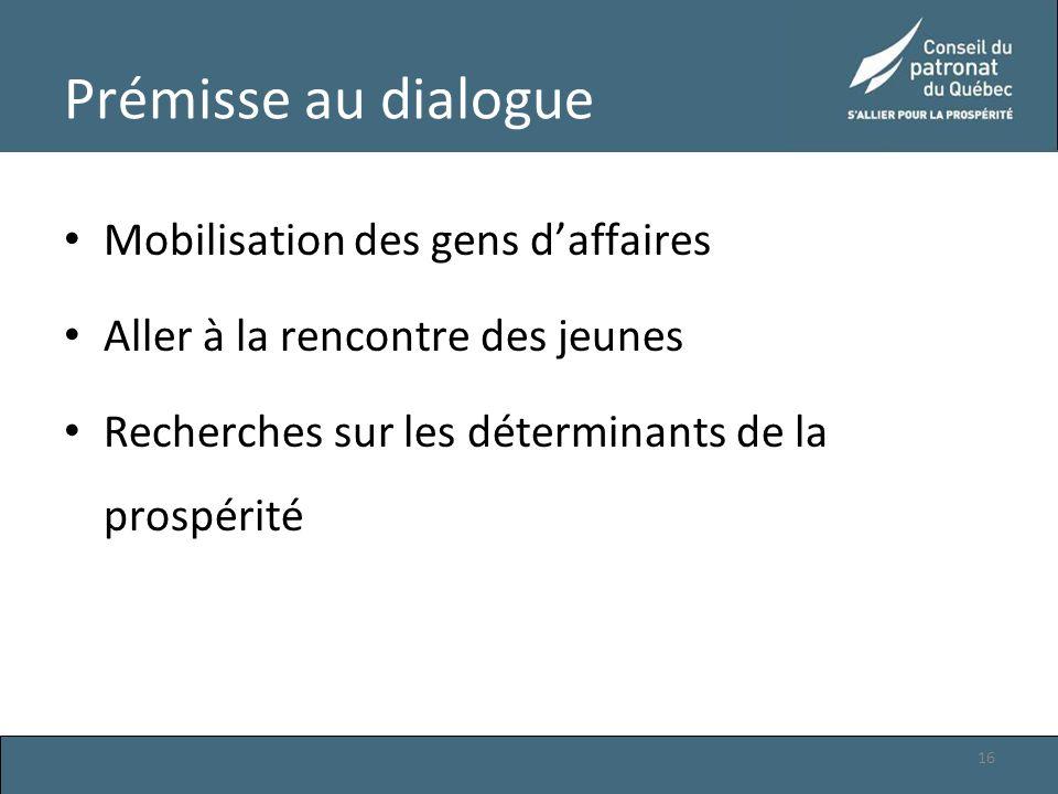Prémisse au dialogue Mobilisation des gens d'affaires Aller à la rencontre des jeunes Recherches sur les déterminants de la prospérité 16