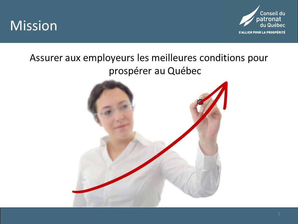 Mission Assurer aux employeurs les meilleures conditions pour prospérer au Québec 3
