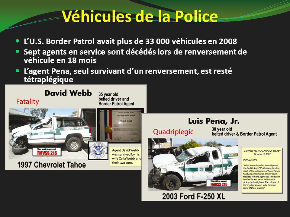 Véhicules de la Police L'U.S. Border Patrol avait plus de 33 000 véhicules en 2008 L'U.S. Border Patrol avait plus de 33 000 véhicules en 2008 Sept ag