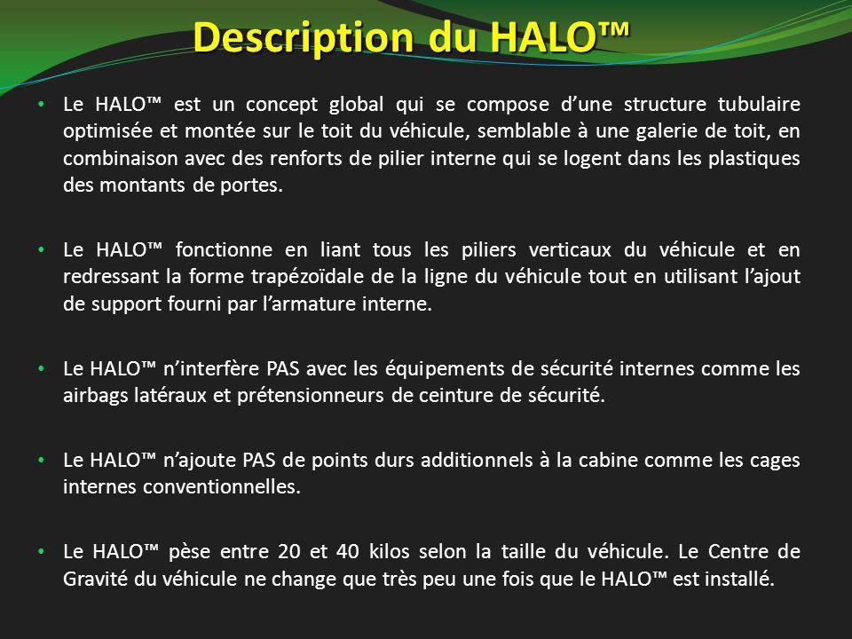Description du HALO™ Le HALO™ est un concept global qui se compose d'une structure tubulaire optimisée et montée sur le toit du véhicule, semblable à une galerie de toit, en combinaison avec des renforts de pilier interne qui se logent dans les plastiques des montants de portes.