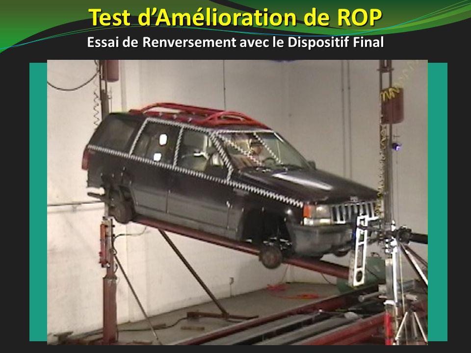 Test d'Amélioration de ROP Essai de Renversement avec le Dispositif Final