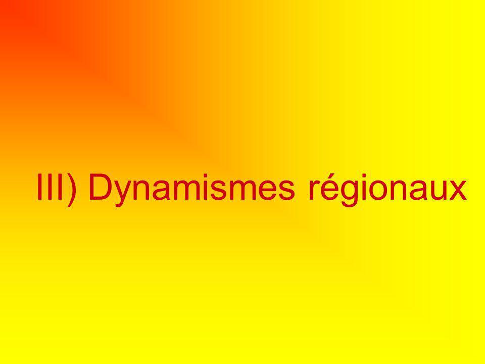 III) Dynamismes régionaux