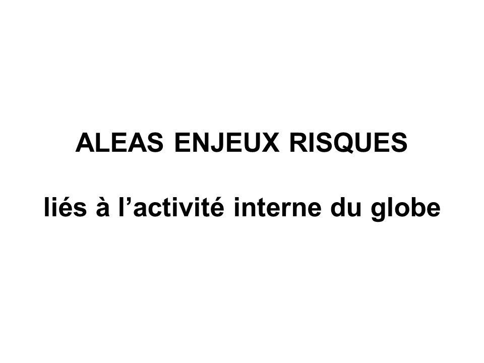 ALEAS ENJEUX RISQUES liés à l'activité interne du globe