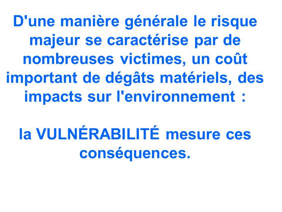 D'une manière générale le risque majeur se caractérise par de nombreuses victimes, un coût important de dégâts matériels, des impacts sur l'environnem
