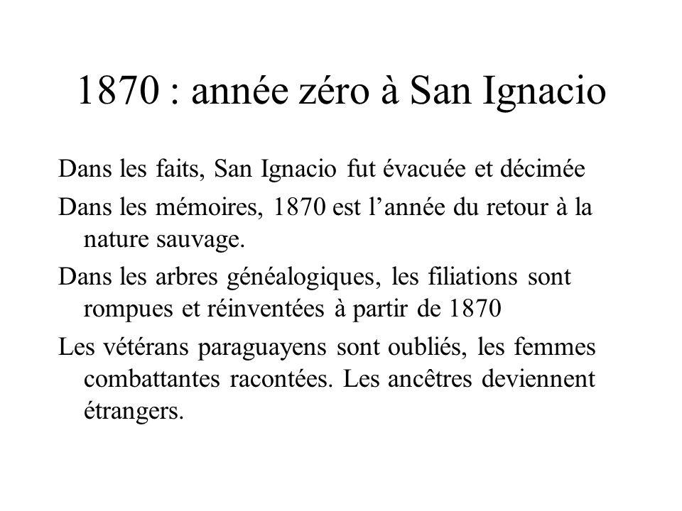 1870 : année zéro à San Ignacio Dans les faits, San Ignacio fut évacuée et décimée Dans les mémoires, 1870 est l'année du retour à la nature sauvage.