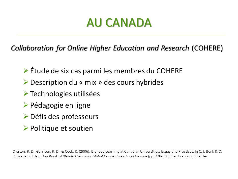 AU CANADA Collaboration for Online Higher Education and Research (COHERE)  Étude de six cas parmi les membres du COHERE  Description du « mix » des cours hybrides  Technologies utilisées  Pédagogie en ligne  Défis des professeurs  Politique et soutien Owston, R.
