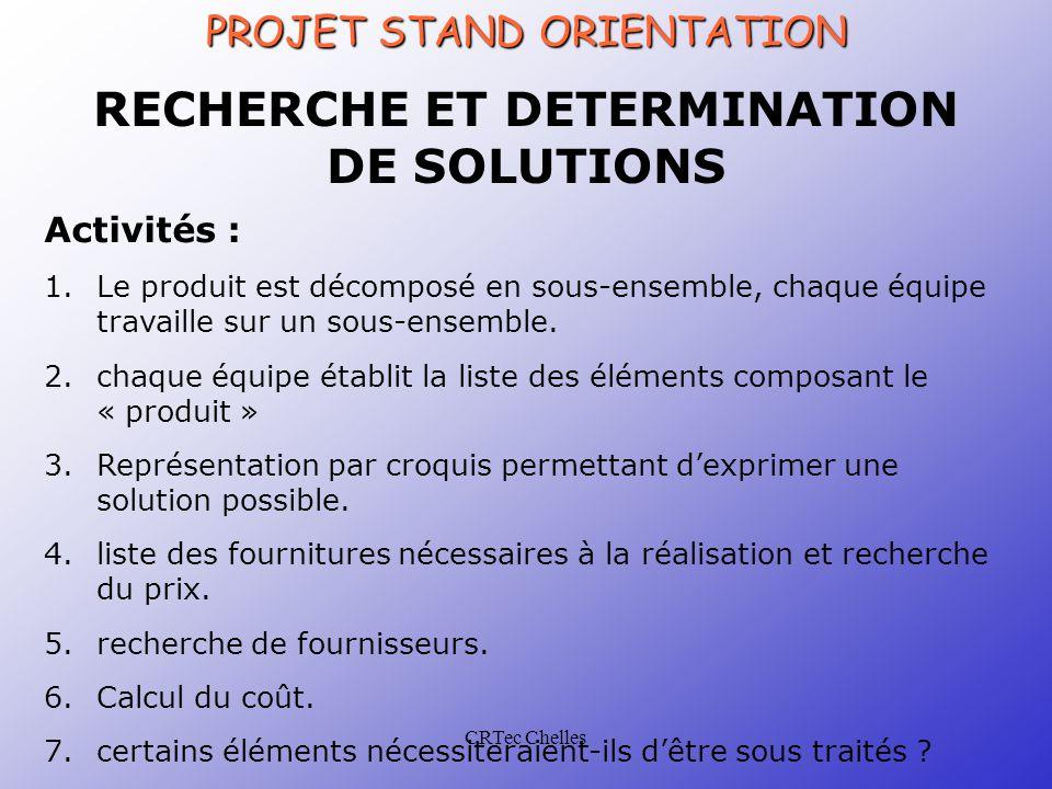 CRTec Chelles RECHERCHE ET DETERMINATION DE SOLUTIONS Activités : 1.Le produit est décomposé en sous-ensemble, chaque équipe travaille sur un sous-ensemble.