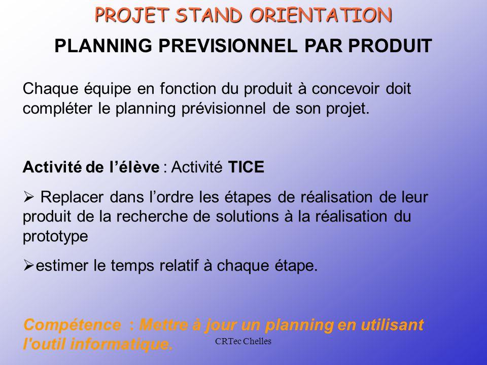 CRTec Chelles PLANNING PREVISIONNEL PAR PRODUIT Chaque équipe en fonction du produit à concevoir doit compléter le planning prévisionnel de son projet.