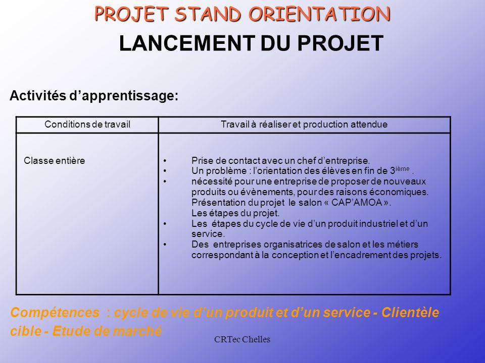 CRTec Chelles PROJET STAND ORIENTATION LANCEMENT DU PROJET Activités d'apprentissage: Conditions de travailTravail à réaliser et production attendue C