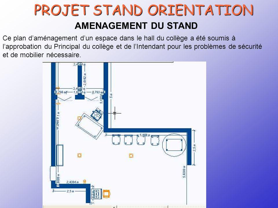 CRTec Chelles PROJET STAND ORIENTATION AMENAGEMENT DU STAND Ce plan d'aménagement d'un espace dans le hall du collège a été soumis à l'approbation du Principal du collège et de l'Intendant pour les problèmes de sécurité et de mobilier nécessaire.