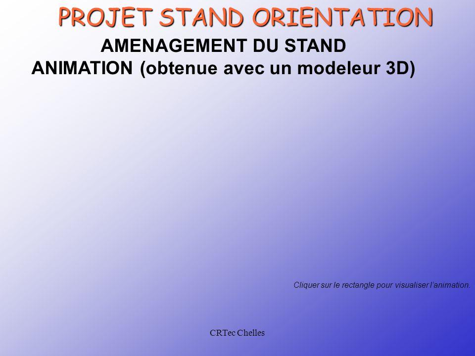 CRTec Chelles PROJET STAND ORIENTATION AMENAGEMENT DU STAND ANIMATION (obtenue avec un modeleur 3D) Cliquer sur le rectangle pour visualiser l'animation.