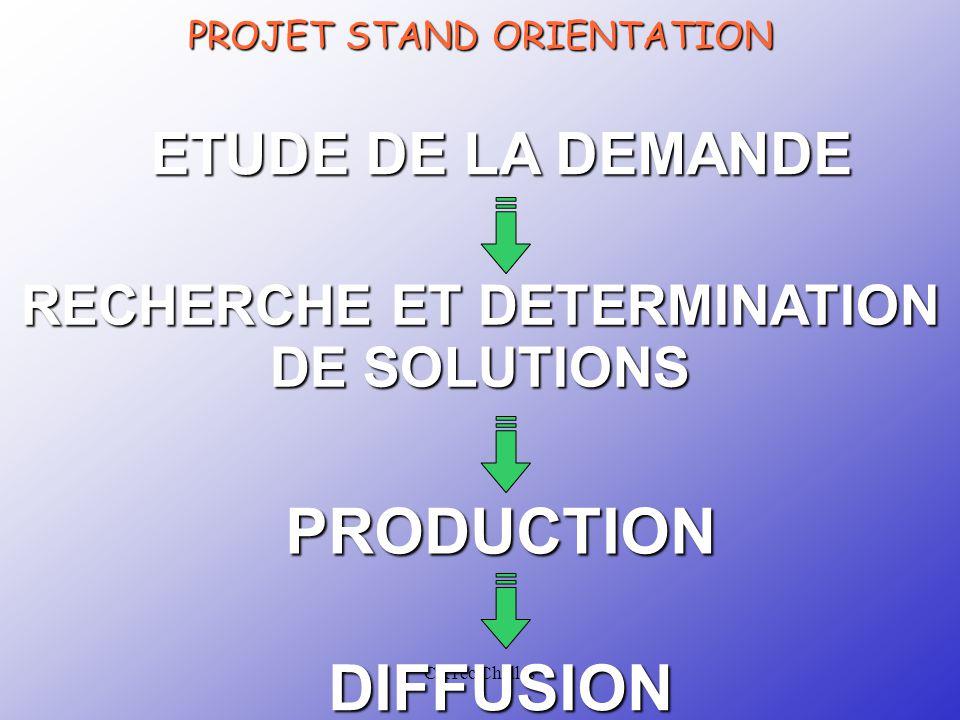 CRTec Chelles Prise de connaissance du CDCF Les élèves, répartis en équipe de 4 ou 5 ont en responsabilité la conception et la réalisation d'un produit de communication qui fera partie intégrante du STAND ORIENTATION.
