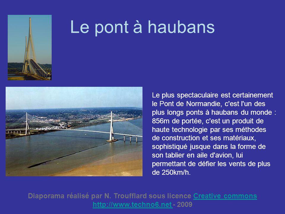 Le pont à haubans Le plus spectaculaire est certainement le Pont de Normandie, c'est l'un des plus longs ponts à haubans du monde : 856m de portée, c'