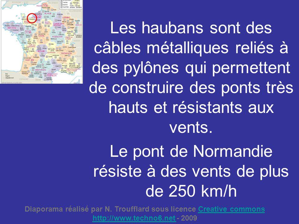 Les haubans sont des câbles métalliques reliés à des pylônes qui permettent de construire des ponts très hauts et résistants aux vents. Le pont de Nor