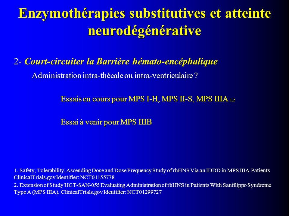 2- Court-circuiter la Barrière hémato-encéphalique Administration intra-thécale ou intra-ventriculaire ? Essais en cours pour MPS I-H, MPS II-S, MPS I
